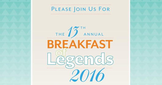 Image of 13th Annual Breakfast of Legends 2016 invitation