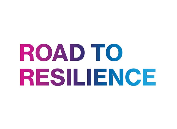 Text based image that says Road to Resilience in pink, blue, and purple colors
