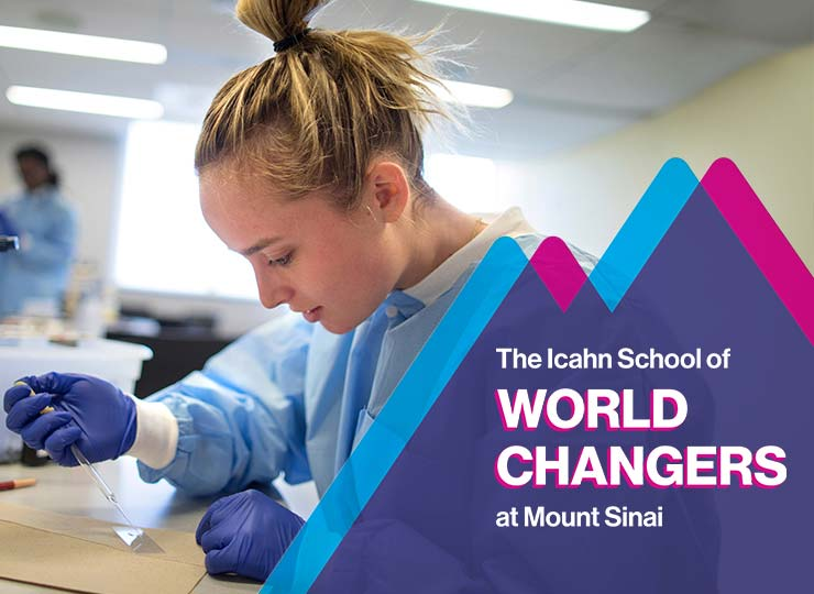 Female student in lab gown and gloves places a specimen onto a slide. There is a magenta and blue mountain graphic in the right