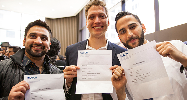 3 Male medical students share their Match Day letters