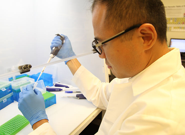 image of researcher filling pipette