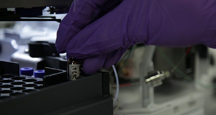 Hand in latex glove places a specimen vial in processing tray