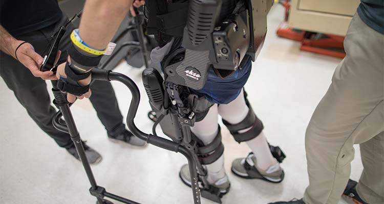 Patient using exoskeleton