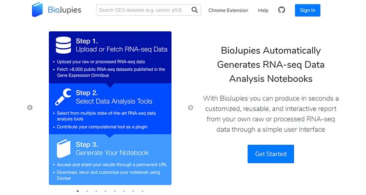Screenshot of the BioJupies website