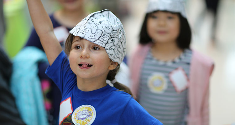 Students participating in activities related to the brain