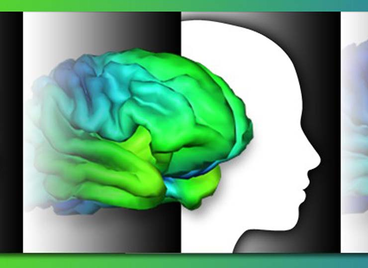 Green and blue image of the brain over the image of a child's head