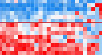 Blue, white and red pixels