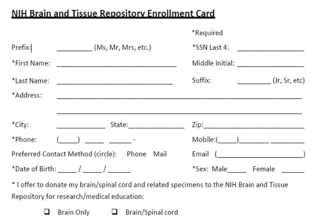 NIH preview image of enrollment form